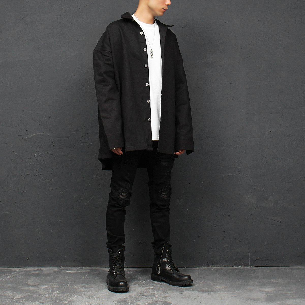 GENTLER SHOP Men/'s Distressed Destroyed Leather Panel Black Skinny Jeans 105